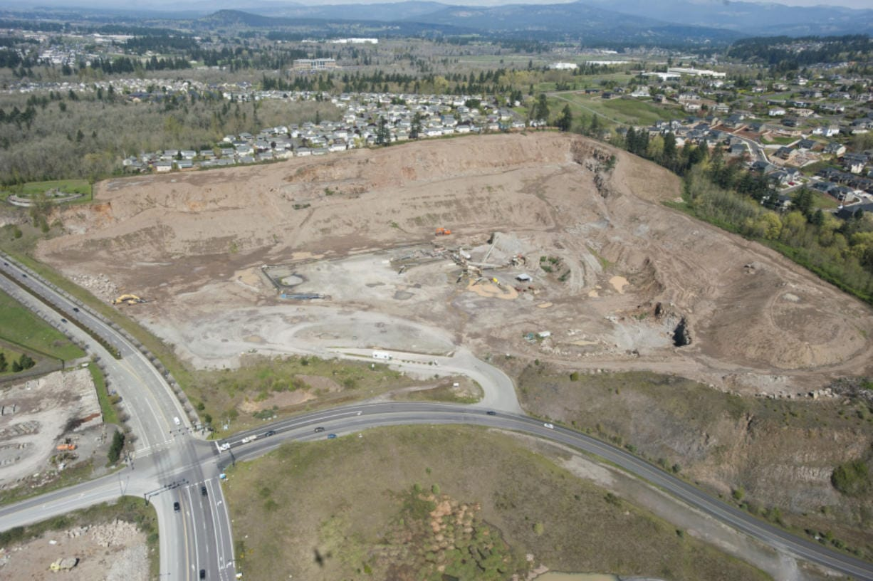 An aerial view of the old Fisher's Quarry mine, just off of Exit 10 north of state Highway 14 in east Vancouver, as seen in March 2015. The rock quarry is the site of a new condominium development called Ledges at Columbia Palisades, which makes up one piece of an 84-acre redevelopment project.