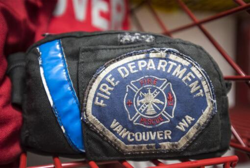 A Vancouver Fire Department patch is seen in the gear room of Fire Station 2.