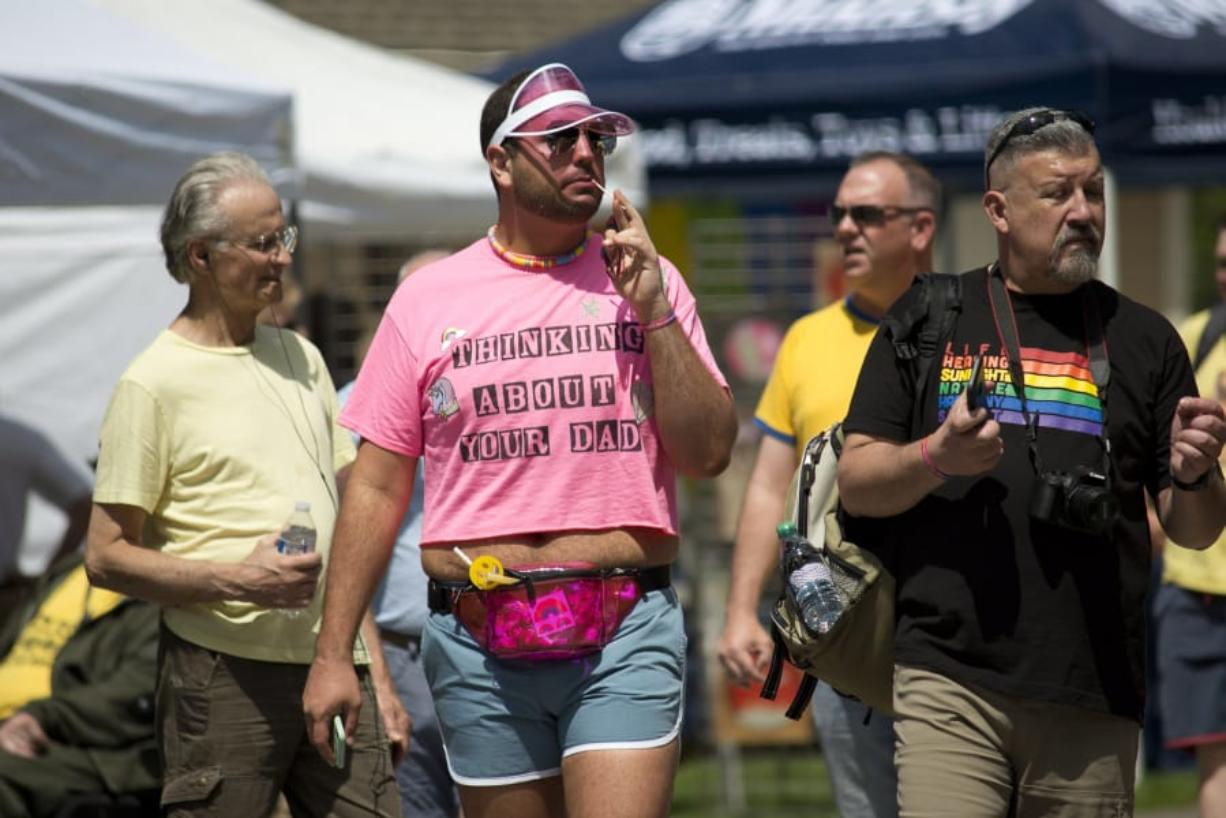 """Skyler Jones of Seattle attends Saturday in the Park Pride at Esther Short Park in Vancouver on Saturday. Vancouver's pride event is """"more intimate for a smaller city,"""" Jones said."""