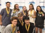 The Vancouver Tennis Center Junior Team Tennis won the 2019 Pacific Northwest 18U Sectionals. Team members include Emma Tuttle, Piper Rylander, Natalie Dunnam, Jace Moriki, Sam Crawford, Finn Chenevert, Jeffery Truong, Matt Rudi, and coach Jack Wang.