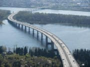 An aerial view of the Interstate 205 Bridge between Vancouver and Portland.