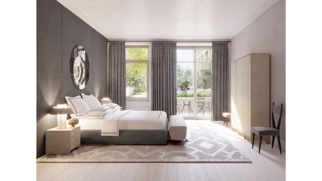 A room with light sanded floors designed by Ryan Korban. Korban says light floors lend themselves to a more serene sleeping environment. He used them in this New York City bedroom.