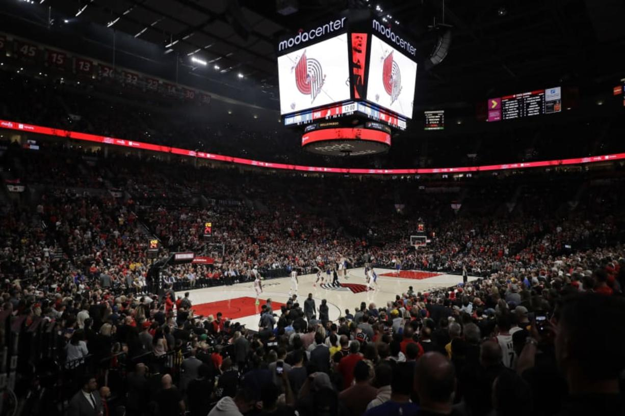 Portland's Moda Center will be packed again as the Trail Blazers tip-off the 2019-20 regular season on Wednesday, Oct. 23 against the Denver Nuggets. (AP Photo/Ted S. Warren)