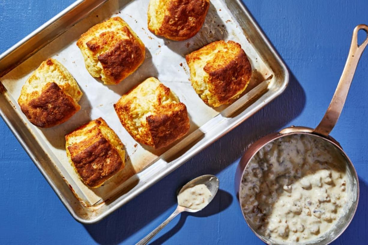 Buttermilk Biscuits With Sausage Gravy (Photo for The Washington Post by Stacy Zarin Goldberg)