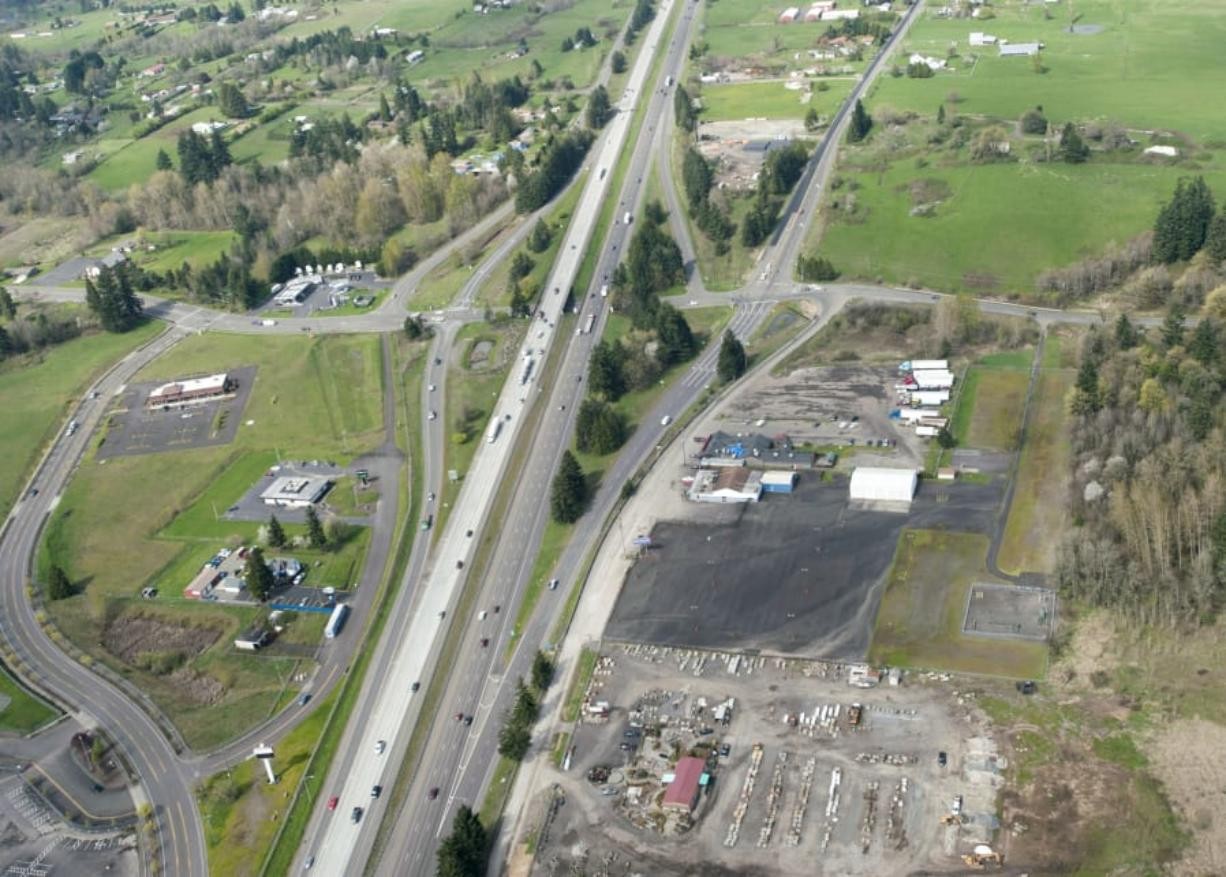 An aerial view of the 179th Street/Interstate 5 interchange north of Vancouver.