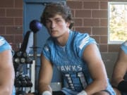 Hockinson's Sawyer Racanelli poses for a press photo at Hockinson High School on Monday night, Aug. 19, 2019.