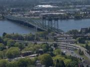 The Interstate 5 Bridge stretches across the Columbia River as it links Portland and Vancouver in this 2018 file photo.