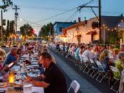 Diners take over South Main Avenue in Ridgefield one night a year for the Farm to Table event.