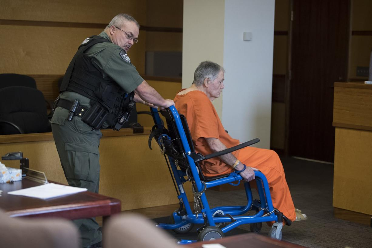 David Jay Sterling, 74, is wheeled into the courtroom for sentencing in a decades-old serial rape case after spending years in federal prison at Clark County Superior Court on Thursday morning, Aug. 8, 2019. The court imposed five suspended life sentences in the case.