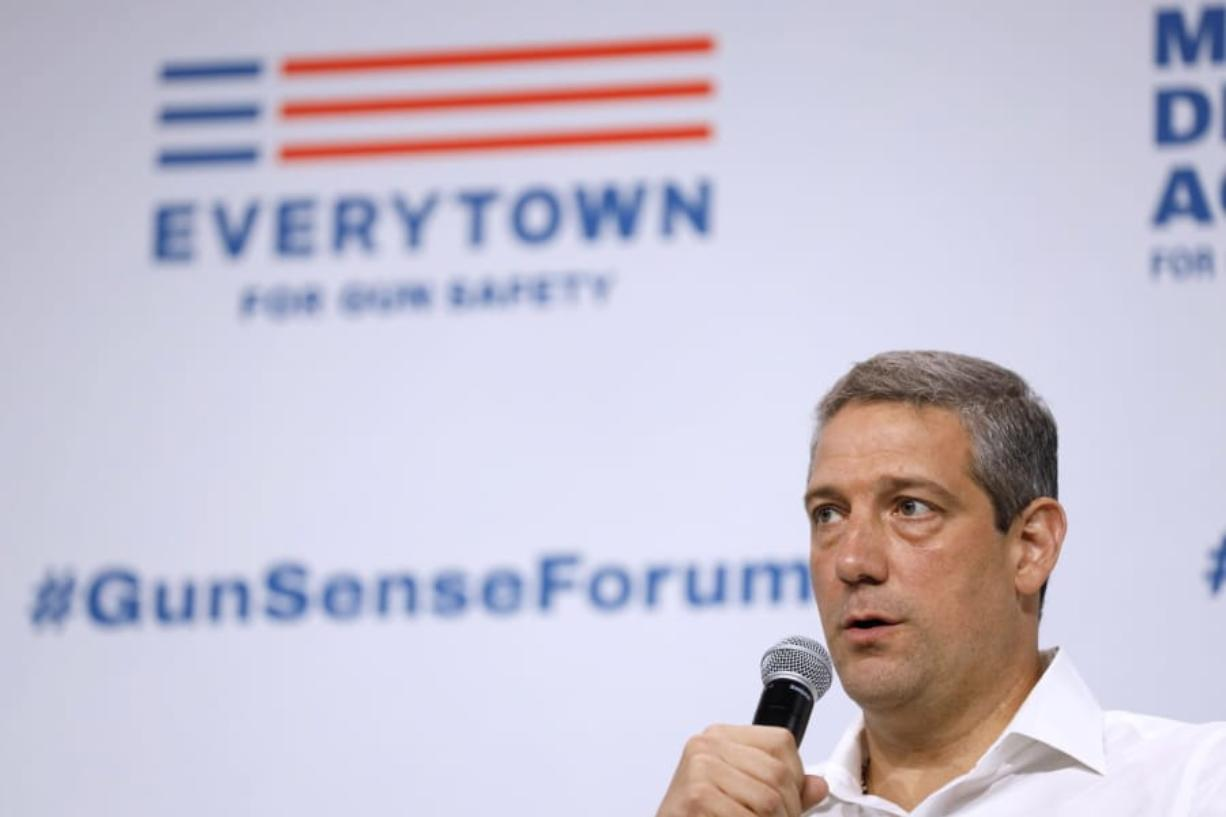 Democratic presidential candidate Rep. Tim Ryan speaks at the Presidential Gun Sense Forum, Saturday, Aug. 10, 2019, in Des Moines, Iowa.