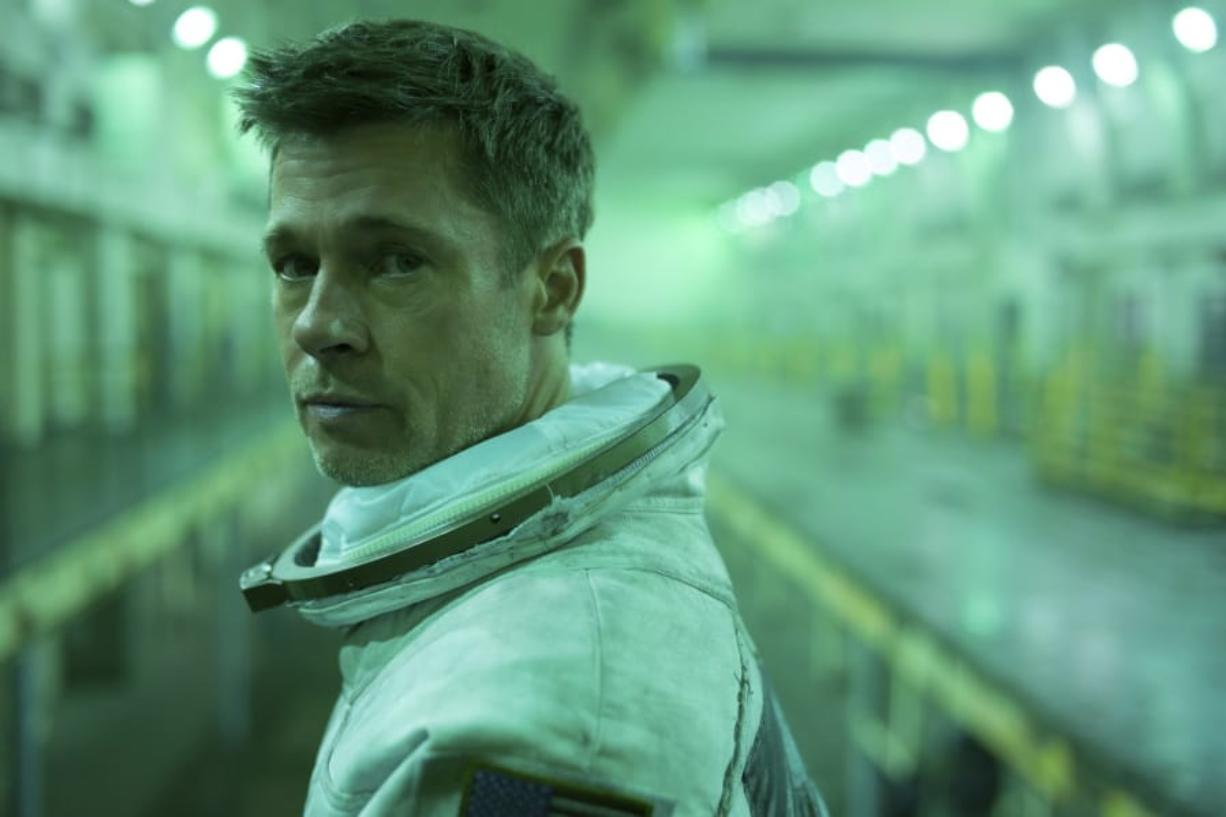 """This image released by 20th Century Fox shows Brad Pitt in a scene from """"Ad Astra,"""" in theaters on Sept. 20. (Francois Duhamel/20th Century Fox via AP)"""