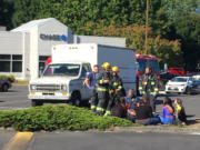 Four people were evaluated for carbon monoxide exposure Monday afternoon at Columbia Square shopping mall.