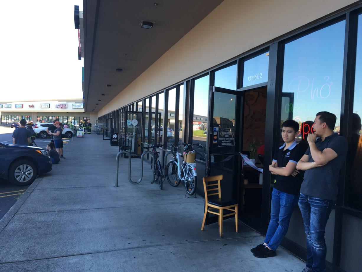 Businesses in the Columbia Square had their doors open for ventilation Monday afternoon after a carbon monoxide incident at the east Vancouver strip mall.
