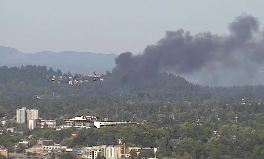 Fire burns near Rocky Butte in northeast Portland in this view from KATU-TV's tower.