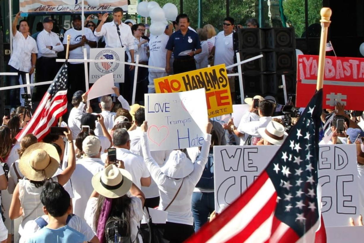 "Democratic presidential candidate and former Texas Rep. Beto O'Rourke speaks at the League of United Latin American Citizens' ""March For a United America,"" in El Paso, Texas, on Saturday, Aug. 10, 2019. More than 100 people marched through the Texas border denouncing racism and calling for stronger gun laws one week after several people were killed in a mass shooting that authorities say was carried out by a man targeting Mexicans. (AP Photo/Cedar Attanasio)"