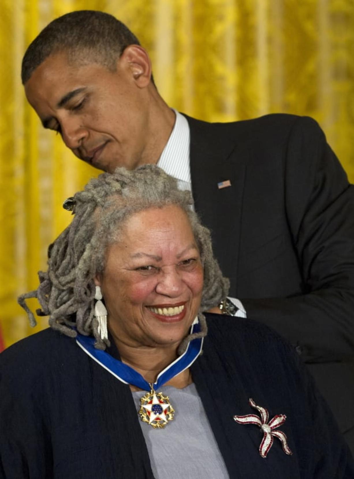 President Barack Obama awards author Toni Morrison with a Medal of Freedom, during a May 29, 2012 ceremony in the East Room of the White House in Washington. Associated Press files
