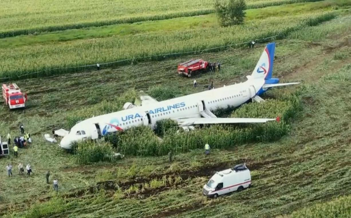 A Russian Ural Airlines A321 plane sits in field after an emergency landing Thursday. RU-RTR Russian Television