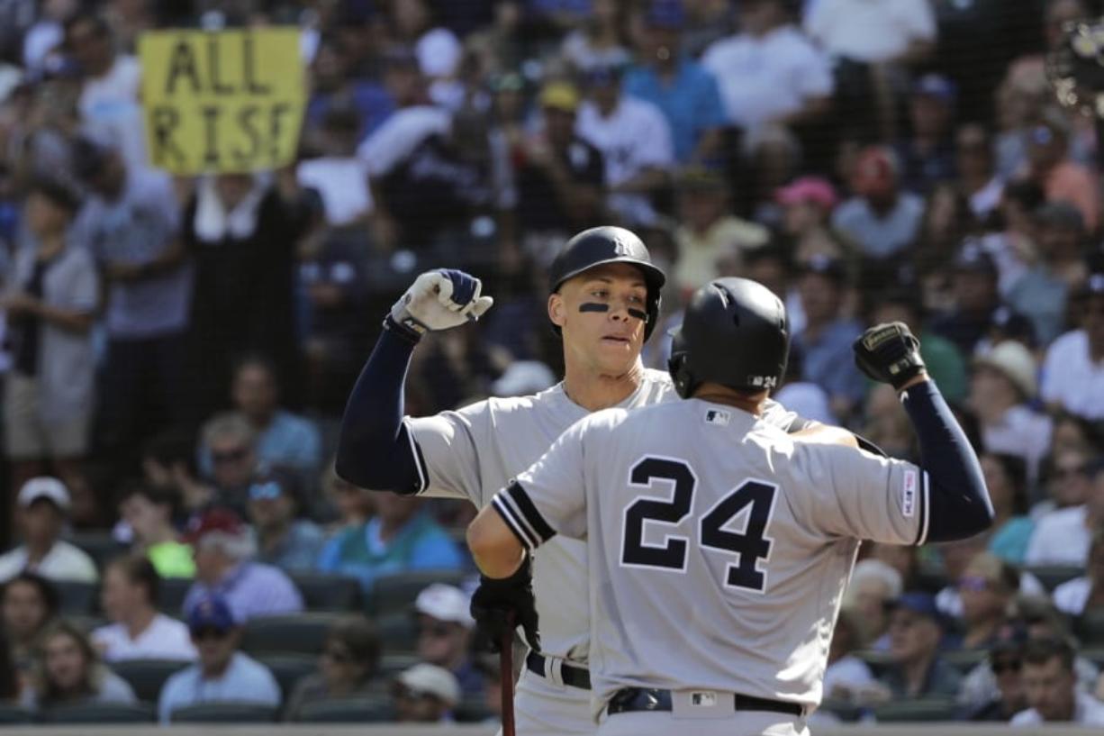 buy online 69581 b7cd5 Yankees bash 4 more home runs, beat Seattle - Columbian.com