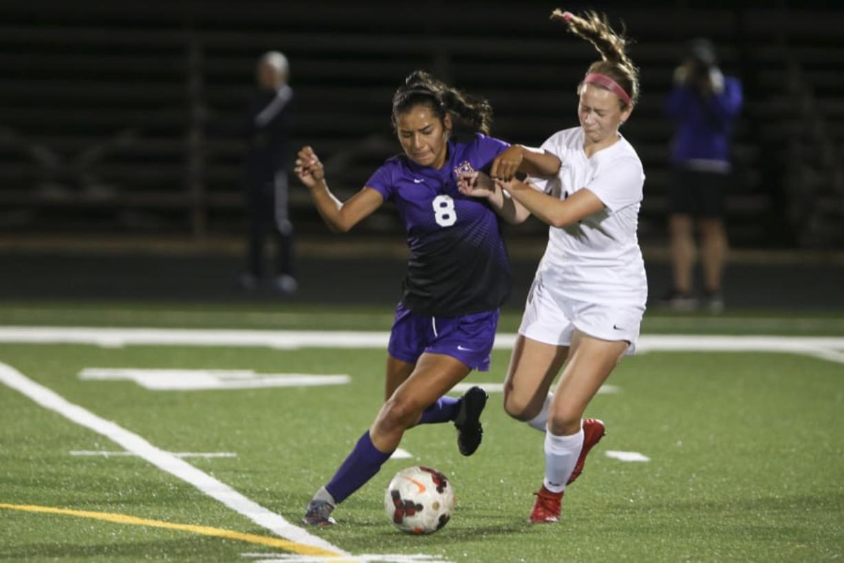 Columbia River' midfielder Yaneisy Rodriguez (8), now a senior, helped the Chieftains place third in state last year. Randy L. Rasmussen/For The Columbian