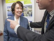 Former Port of Vancouver Commissioner Nancy Baker, seen in December 2015, died Friday night at age 81. Baker was the first woman on the Port of Vancouver commission.