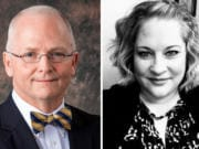 Battle Ground City Councilor Philip Johnson, left, who is seeking re-election to Position 7, filed a complaint in July with the state Public Disclosure Commission against Position 3 candidate Shauna Walters, right.