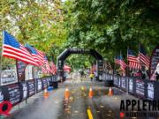 The start/finish line for the PeaceHealth AppleTree Marathon on Officer's Row at the Fort Vancouver National Site.
