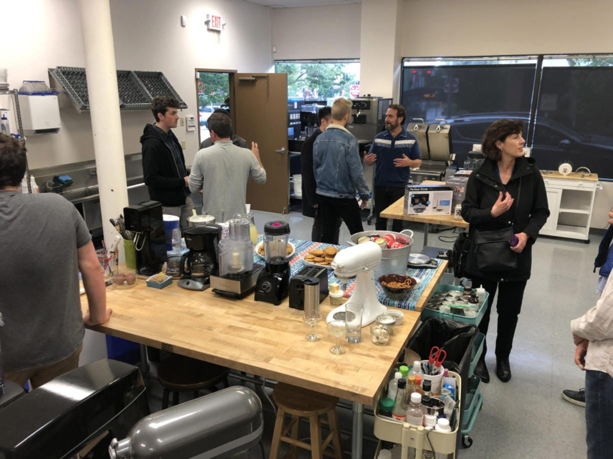 The office of Perfect Co. at 705 Main St. was one of several firms that hosted tech-minded people on Tuesday during the third-annual Vancouver Tech Tour. Perfect Co. makes precision food scales connected to smartphone apps.