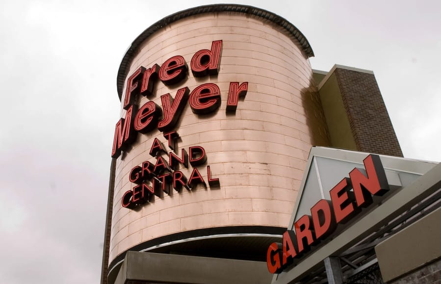An exterior view of the copper face of the new Fred Meyer at Grand Central, Thursday April 10, 2008.
