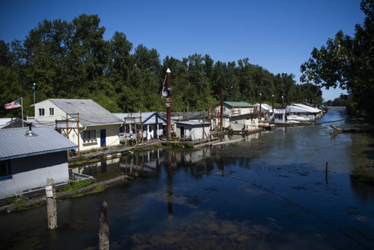 Kadow's Marina is nestled in the waters of Fisherman's Slough between Caterpillar Island and Northwest Lower River Road. The marina has 18 floating homes and rents about 100 slips for motor boats. Alisha Jucevic/The Columbian