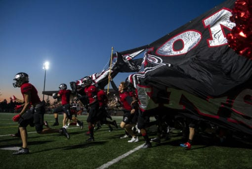 Union runs onto the field before Friday nightÕs game at McKenzie Stadium in Vancouver on Sept. 6, 2019. (Alisha Jucevic/The Columbian)