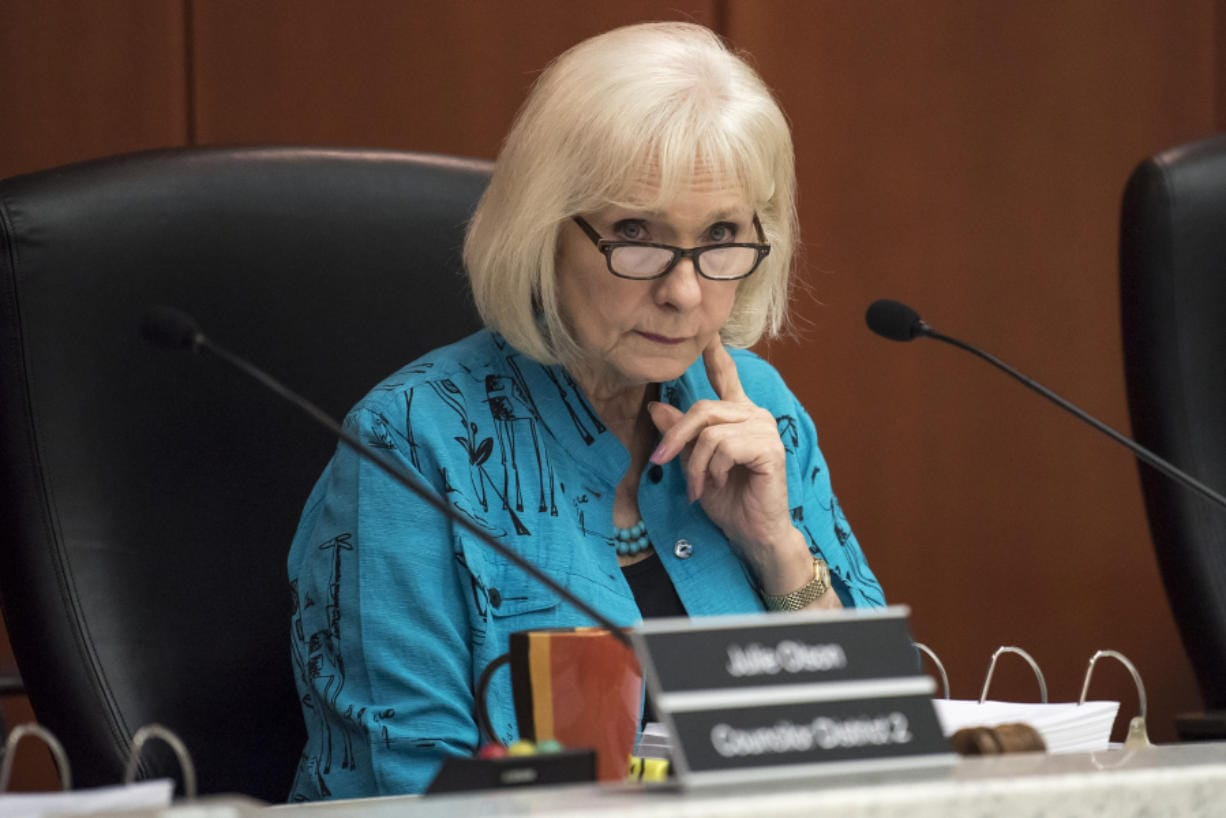 Eileen Quiring, Clark County Council chair, listens to a presentation of the Correction Facility Advisory Commission Report on Wednesday morning. Nathan Howard/The Columbian