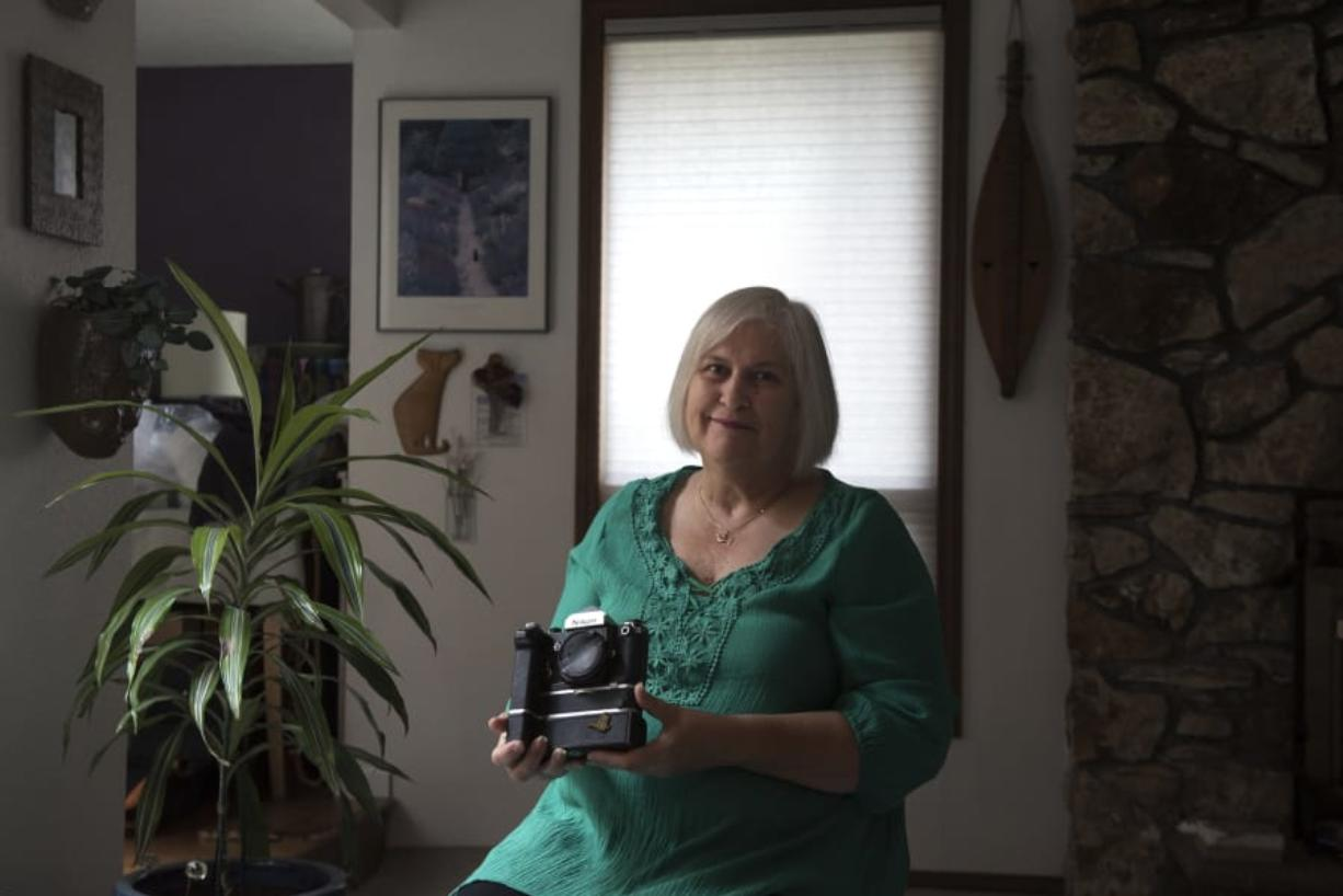 Fay Blackburn has kept cameras that her late husband, Columbian photographer Reid Blackburn, had with him when he died in the May 18, 1980, eruption of Mount St. Helens. Blackburn donated two similar cameras to a time capsule project at the Seattle Space Needle.