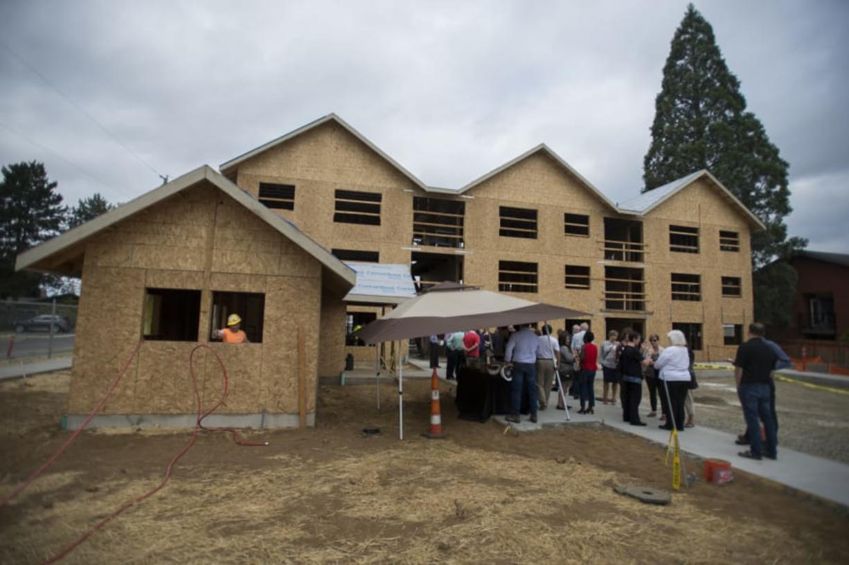 Construction is about half complete at The Pacific, an 18-unit apartment building for people exiting homelessness. It will be the first completed development by Housing Initiative.