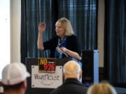 """""""As you're probably aware, the transportation benefit district, TBD, does not mean 'to be determined,' """" says Vancouver Mayor Anne McEnerny-Ogle. But she says that transportation benefit districts might be under threat from a ballot initiative."""