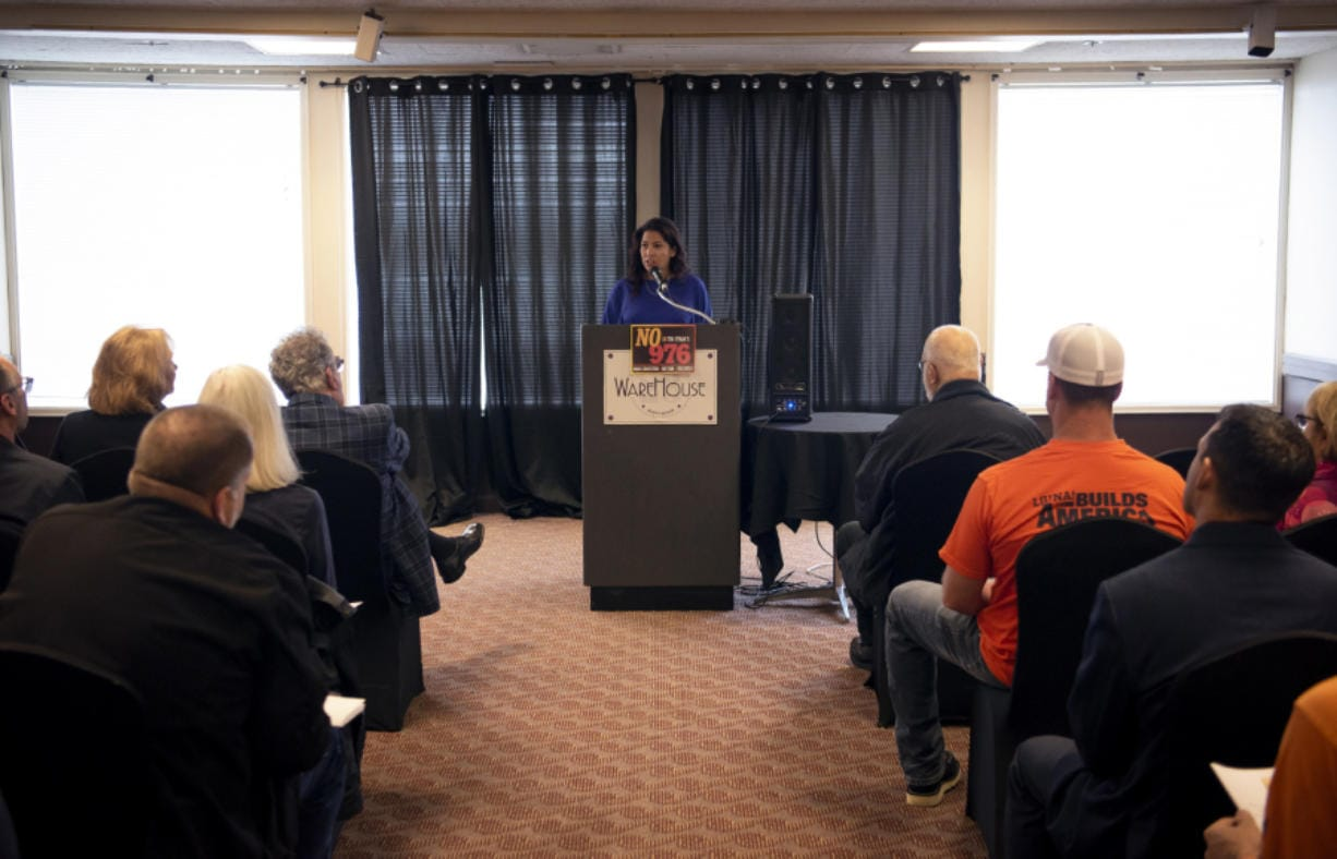 Rep. Monica Stonier, D-Vancouver, stresses how collaborative the Southwest Washington legislative delegation has been on the area's transportation challenges and how a ballot initiative could undo much of it. (Alisha Jucevic/The Columbian)