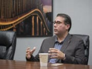 Battle Ground City Councilmember Adrian Cortes speaks with members of The Columbian's Editorial Board.