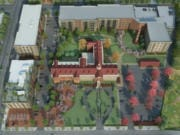 A concept rendering shows an overhead view of the entire Providence Academy campus with both phases of the Aegis project in place.
