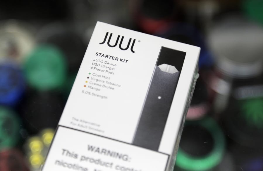 A Juul electronic cigarette starter kit at a smoke shop in New York. Juul is the largest U.S. seller of electronic cigarettes, controlling about 70% of the market. The San Francisco-based company rose to the top through viral marketing that promoted high-nicotine pods with dessert and fruit flavors.
