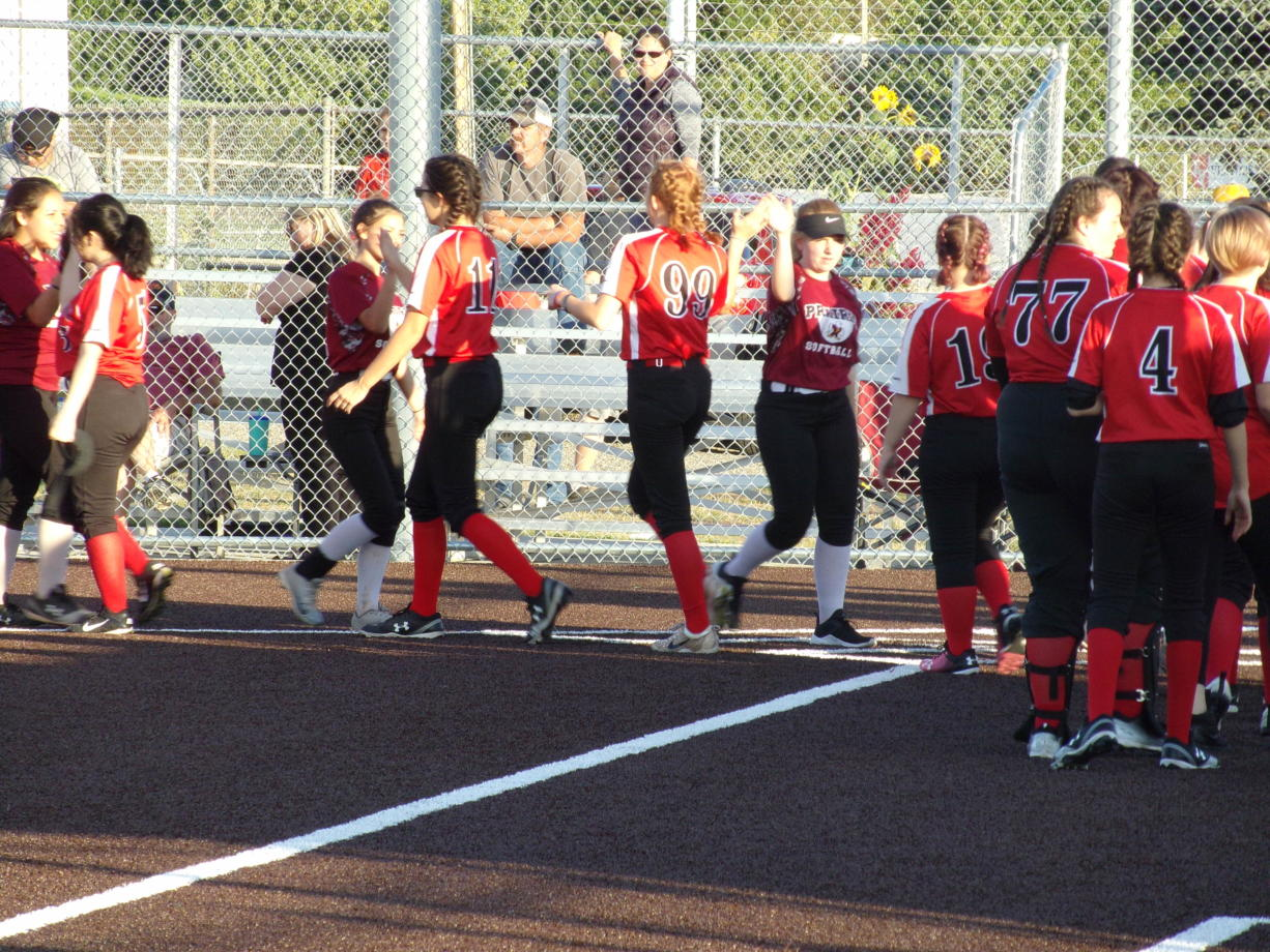 The Fort Vancouver slowpitch softball team shakes hands with Prairie after the teams' doubleheader at Fort Vancouver on Wednesday, Sept., 11, 2019 (Tim Martinez/The Columbian)