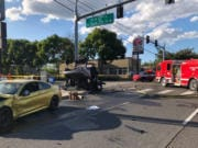 The aftermath of a fatal car crash around Southeast 164th Avenue and Southeast 12th Street around 5:17 p.m. Sunday.