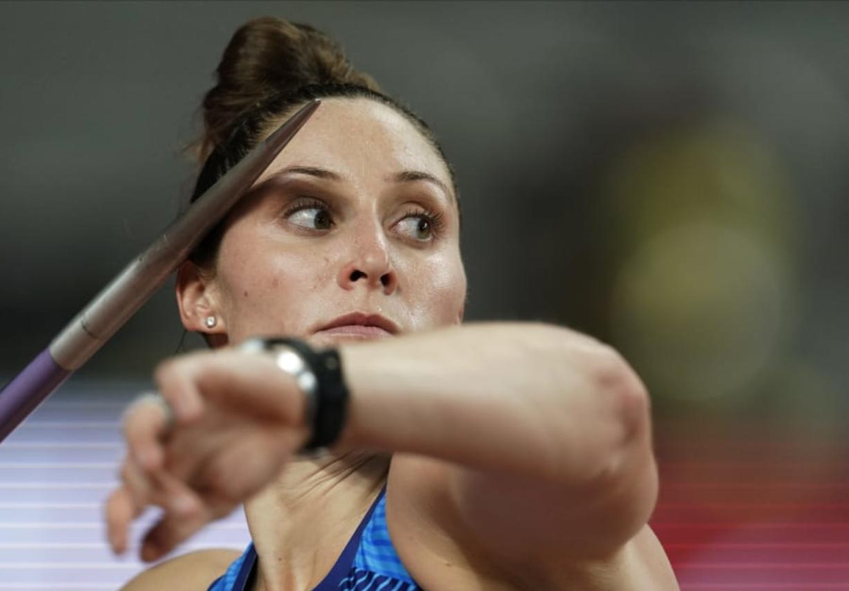 Kara Winger, of the United States, competes in the women's javelin throw at the World Athletics Championships in Doha, Qatar, Monday, Sept. 30, 2019. (AP Photo/David J. Phillip)