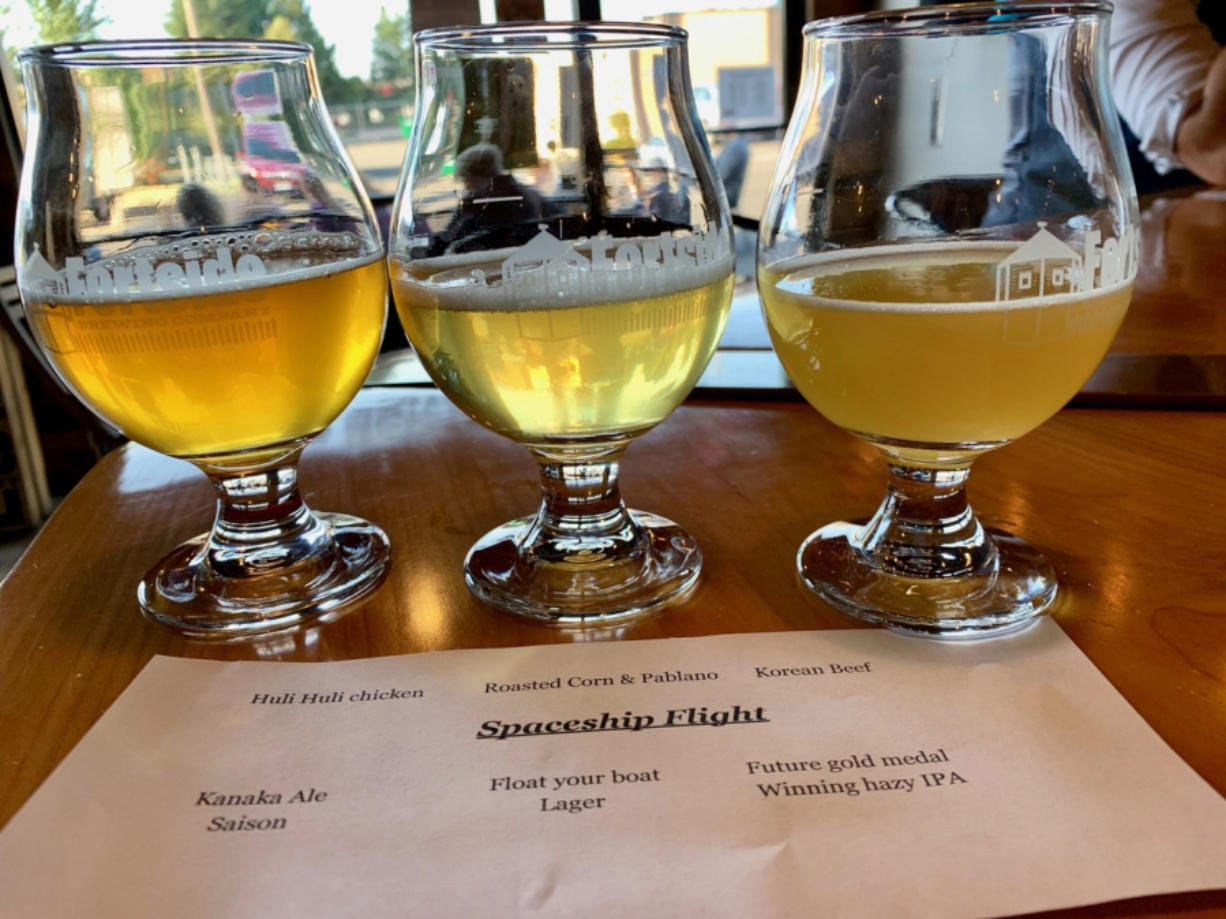 A beer flight at Fortside Brewing Company.