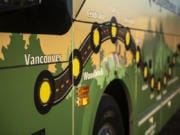 Vancouver was the first stop on the Association of Washington Businesses' bus tour of Washington State in celebration of Manufacturing Week. The tour route is depicted on the side of the bus during a visit SEH America in Vancouver on Wednesday.