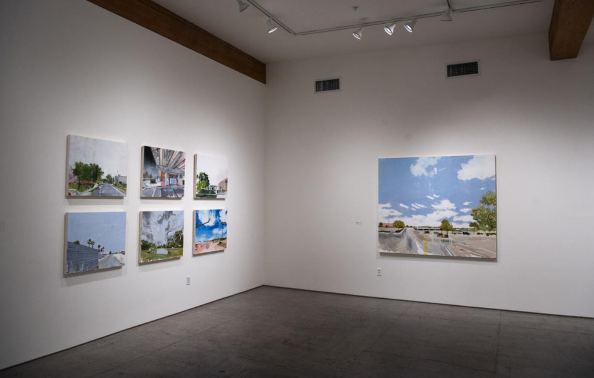 """A sampling of pieces from Stephen Hayes' project """"In the Hour Before"""" are showing at the Elizabeth Leach Gallery in downtown Portland until Nov. 2. The paintings depict locations where shootings have occurred, and imagine the hour prior to the horrific events."""