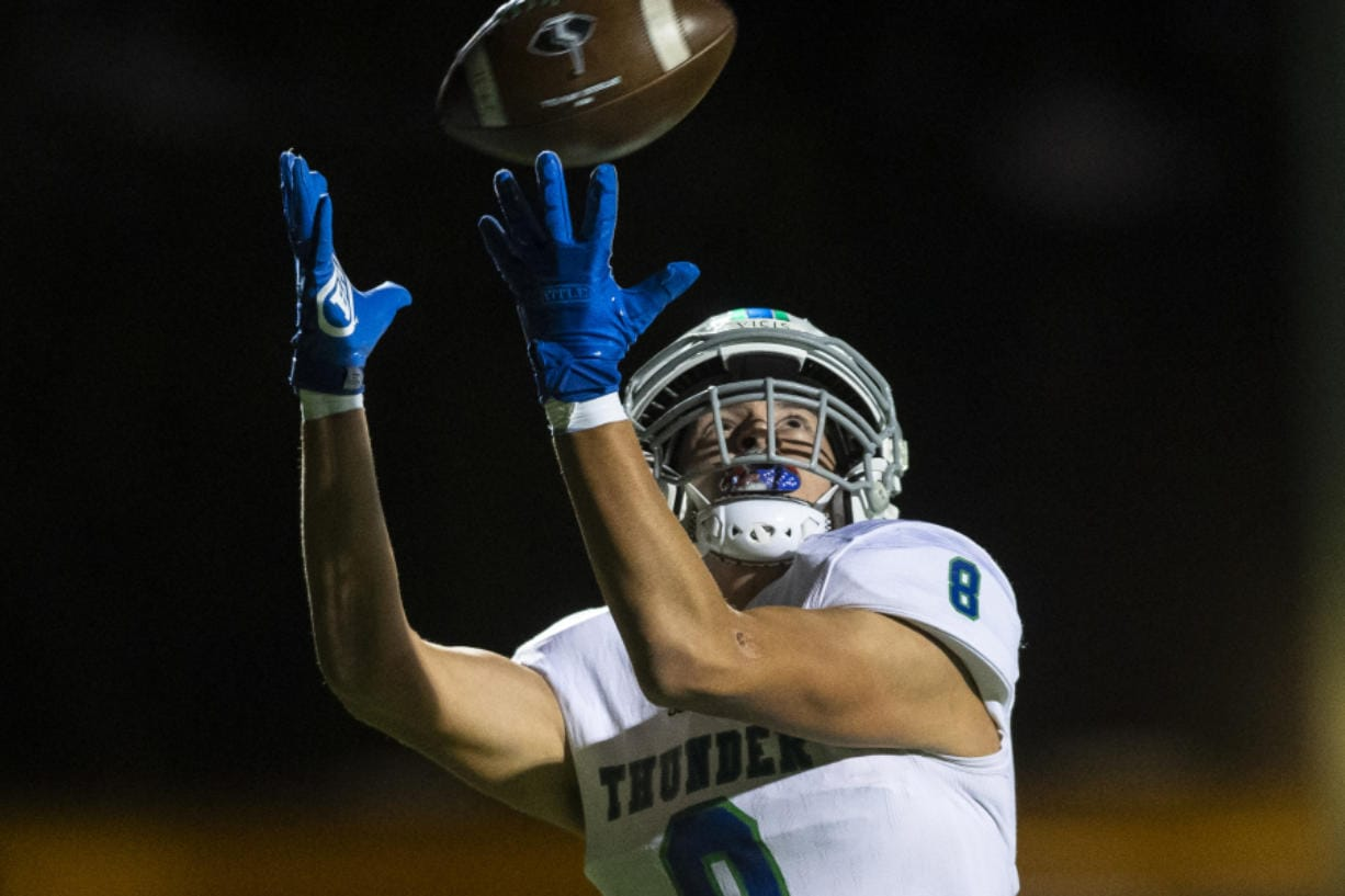 Mountain View???s Dominic Stephens drops a pass in the end zone during a game against Prairie at Battle Ground District Stadium Thursday night, Oct. 10, 2019.