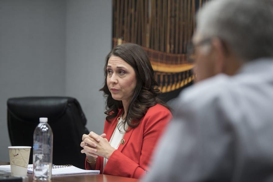 U.S. Rep. Jaime Herrera Beutler, R-Battle Ground, speaks to members of The Columbian's Editorial Board on Wednesday.