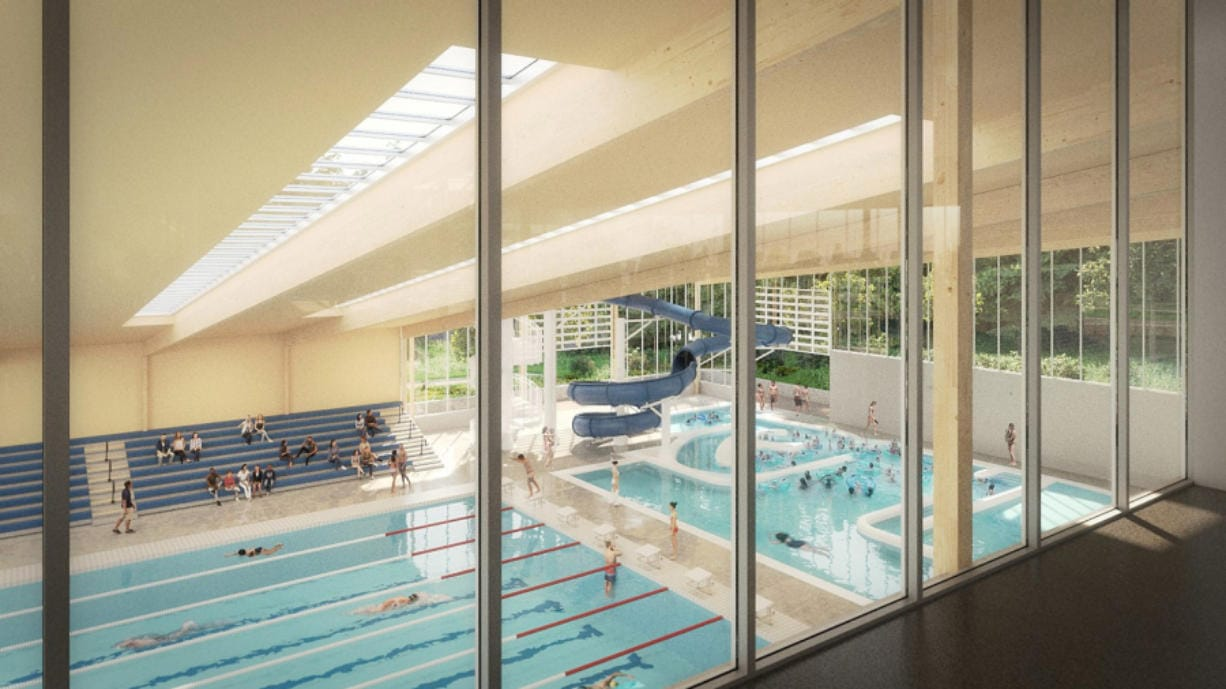 A rendering of how the competition and leisure pool at the proposed Camas community center could look.