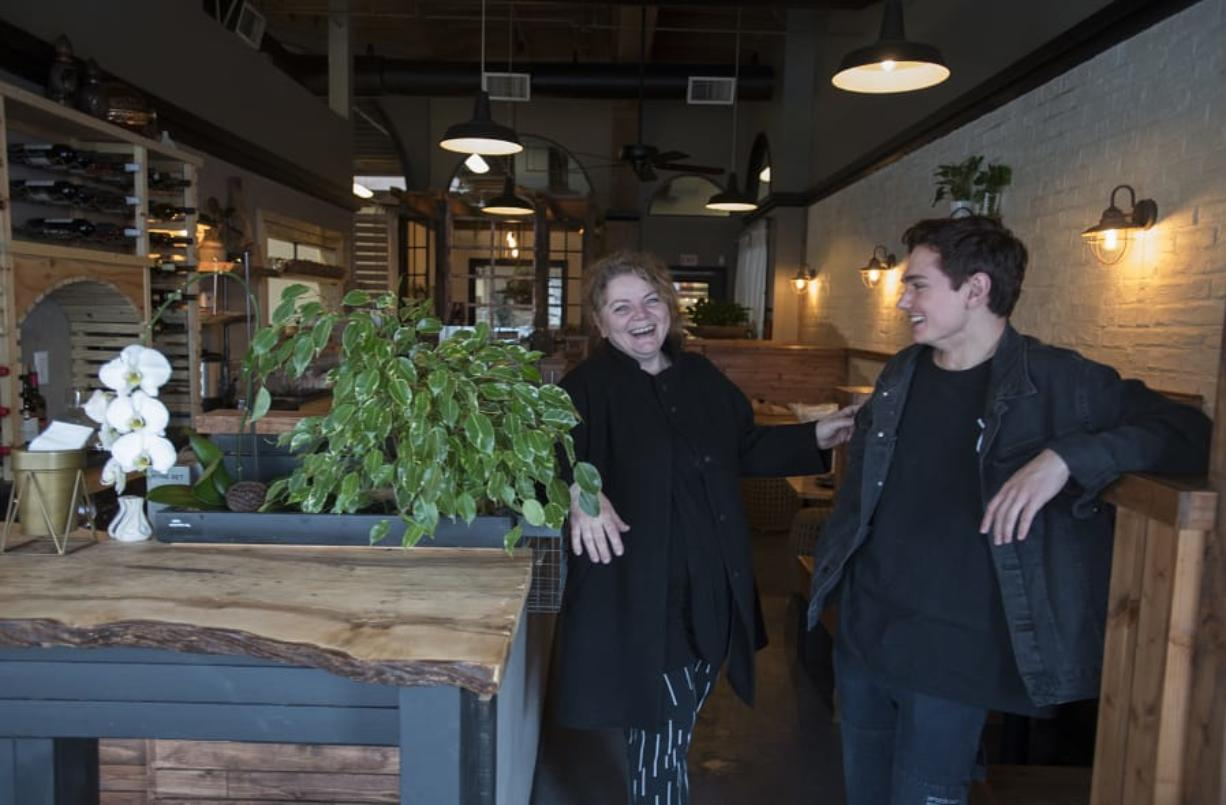 Owners Ella Bakh, left, and her son, Nick, opened Dediko, a new Georgian restaurant in downtown Vancouver. The restaurant is the realization of a lifelong dream for Ella Bakh, who decided to leave her career as a florist and attend culinary school to pursue her passion for cooking. She said she hopes her new restaurant will introduce traditional Georgian food to a new audience of American customers. (Amanda Cowan/The Columbian)