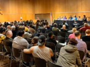 Community members crowded the Vancouver Community Library in downtown Thursday night to hear a panel on the Drag Queen Story Hour program. The popular program has drawn some controversy from critics who say the subject matter is inappropriate for young children.