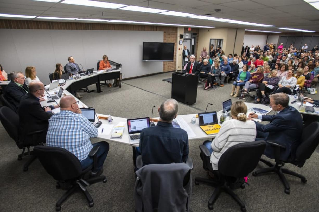 Jeff Lewis speaks to the Battle Ground Public Schools Board of Directors about his opposition to proposed sex education curriculum during a meeting Oct. 14.